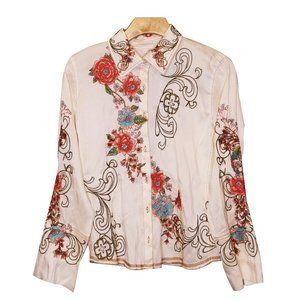 Silk Embroidered Blouse Sz XS